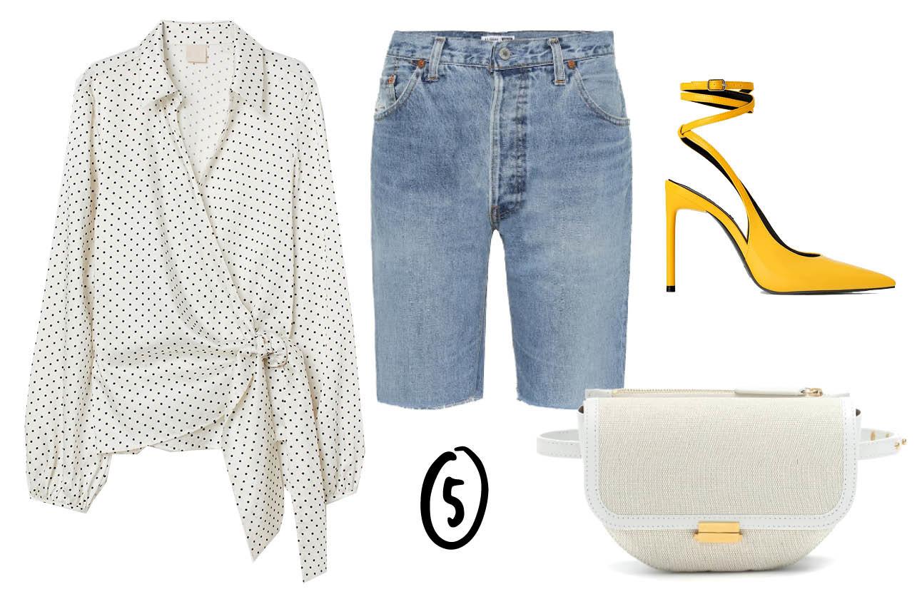 denim bermudashorts, witte blouse met print, gele hakken met lint, beltbag