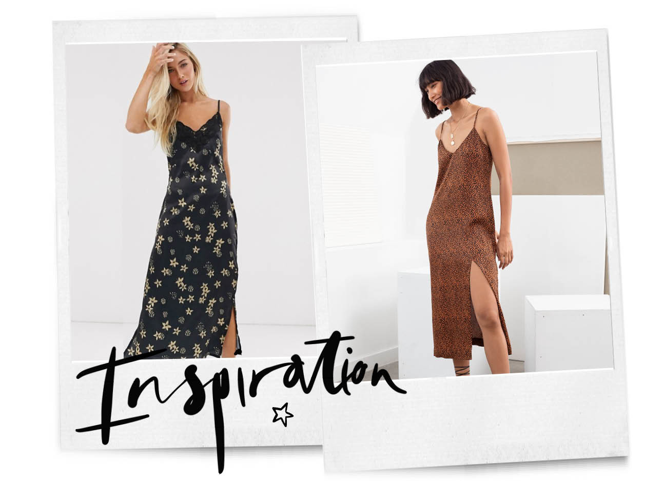 inspiration, slip dress polaroids shopping