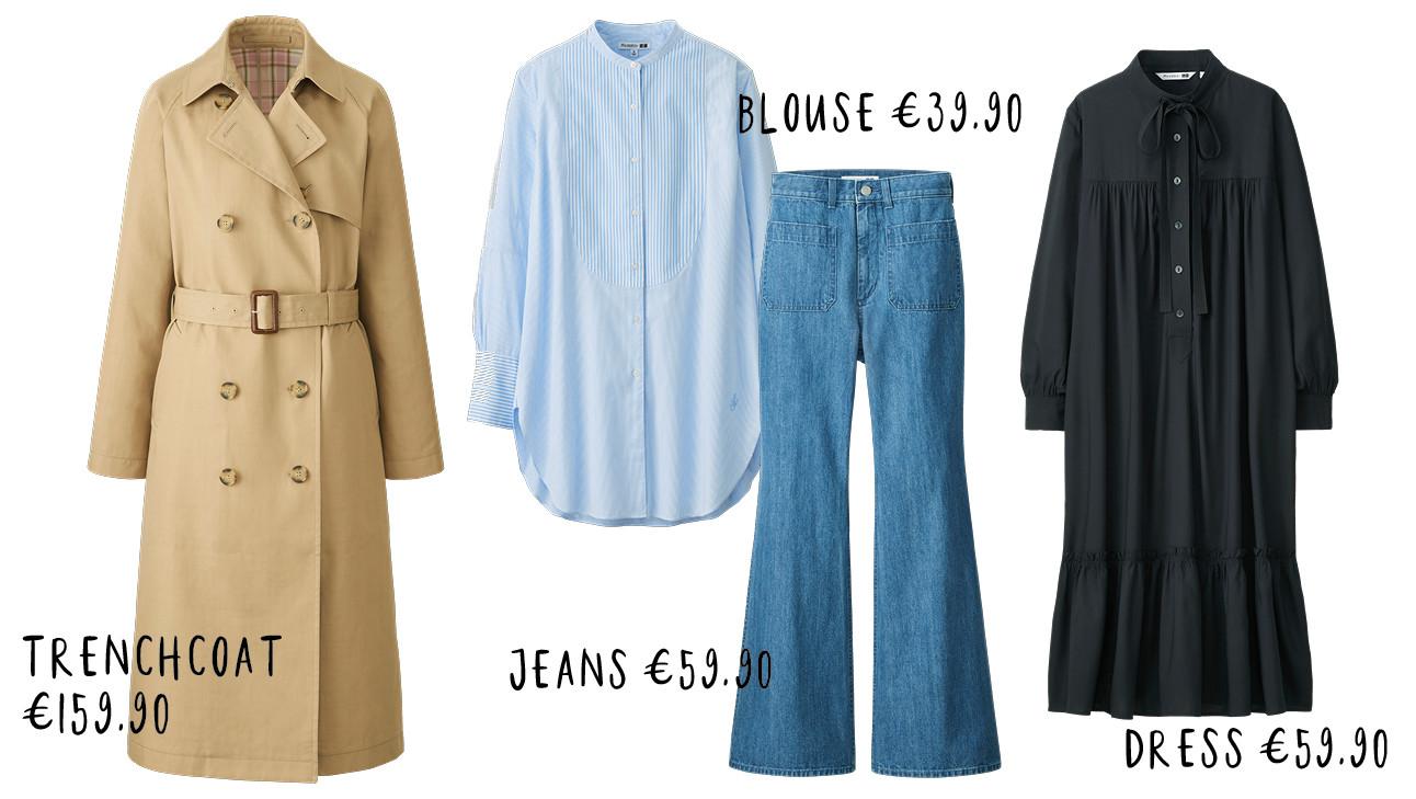 shopping met trenchcoat, jeans, blouse en black dress