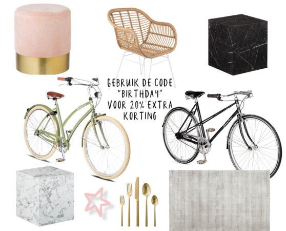shopping advertorial westwing, fietsen, poof, bijzettafel, interieur