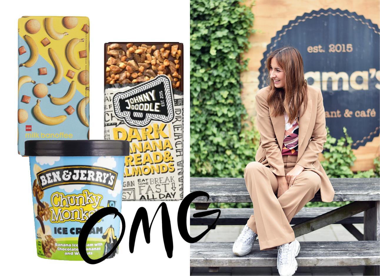 Lil die met in een bruin pak op een houten picknik tafel zit en naast haar staan 3 bananen snoep artikelen