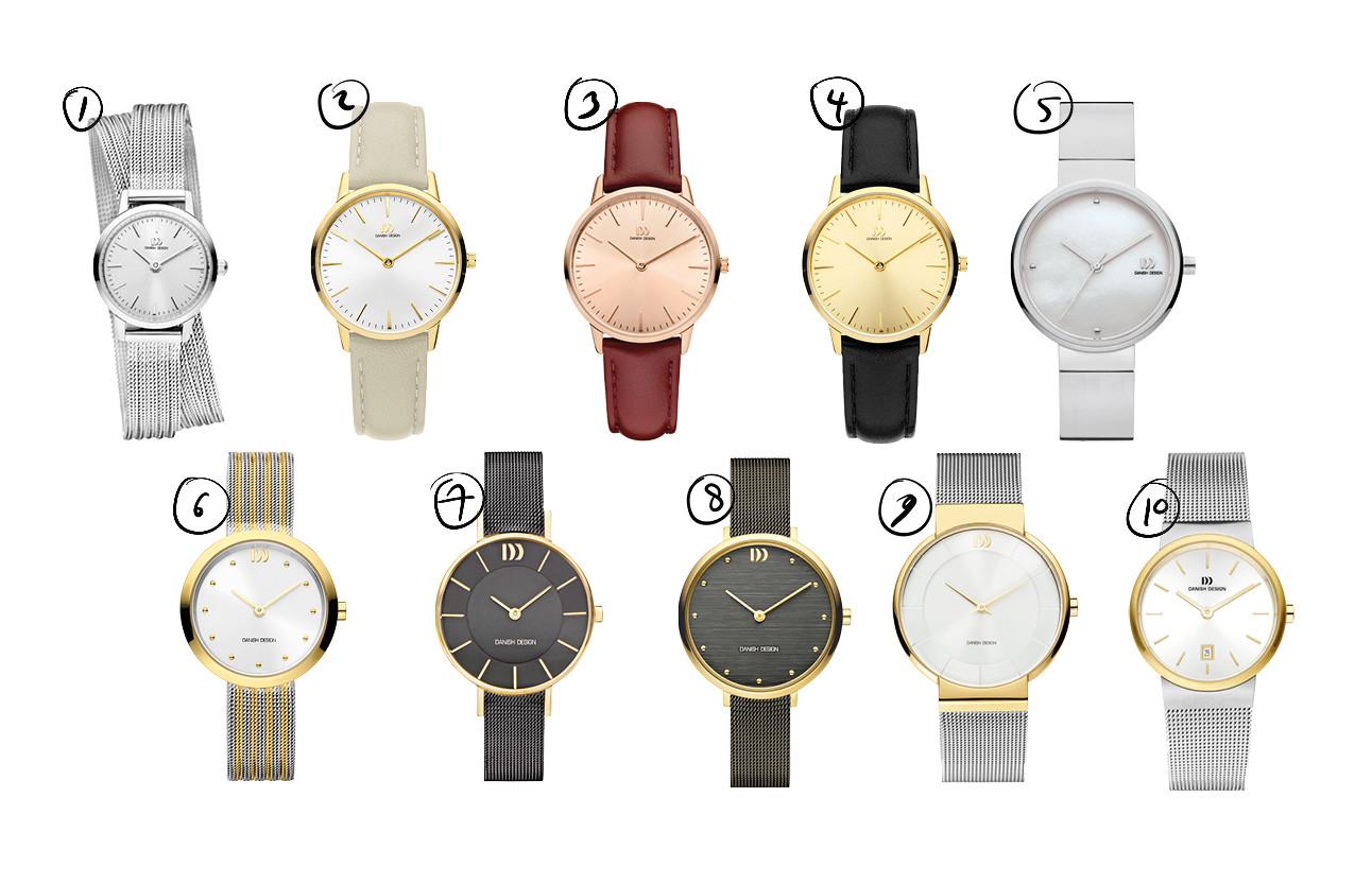 10 verschillende horloge's van danish design