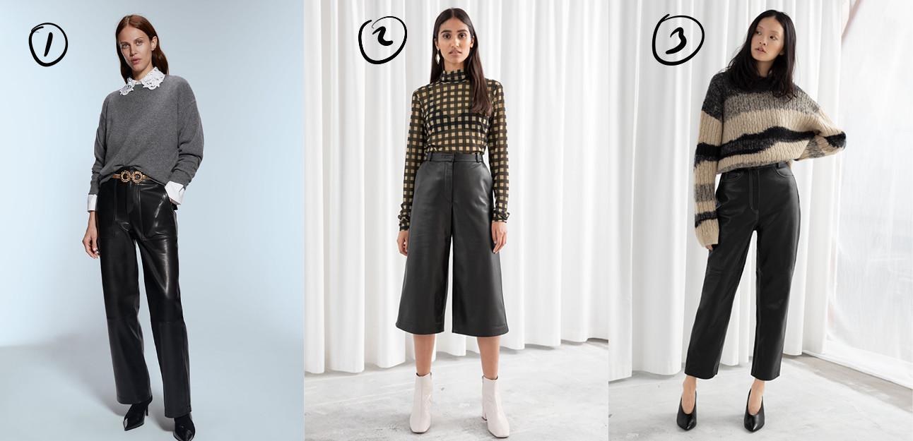 3 meiden die een zwarte leren broek dragen met daarop een trui