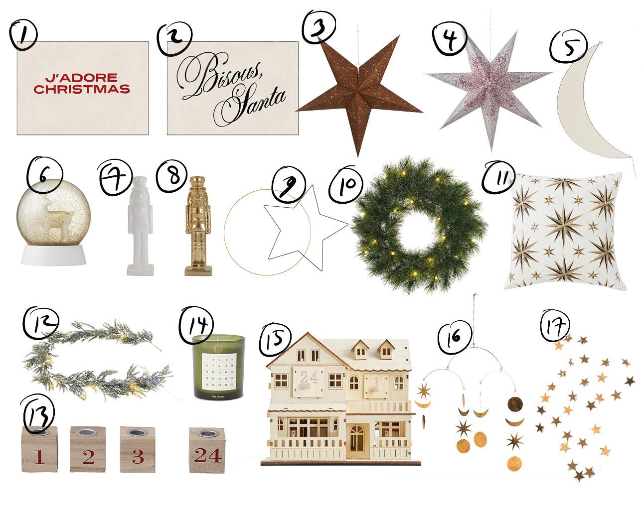 verschillende kerst accesoires