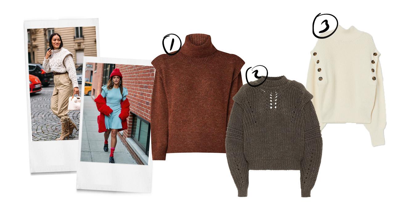 beelden van meiden met gebreide truien aan met een isbale marant schouder