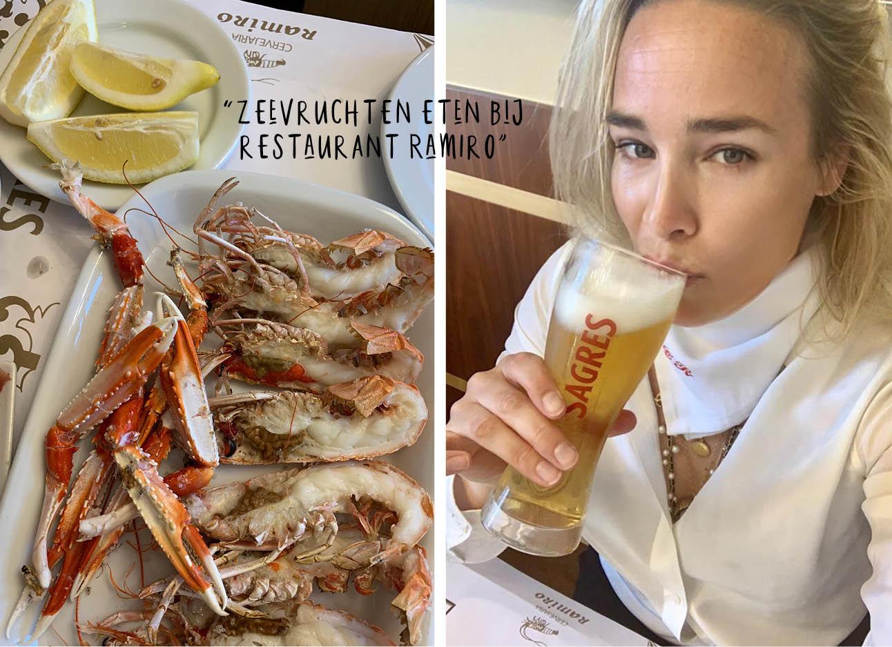 zeevruchten eten en bier drinken