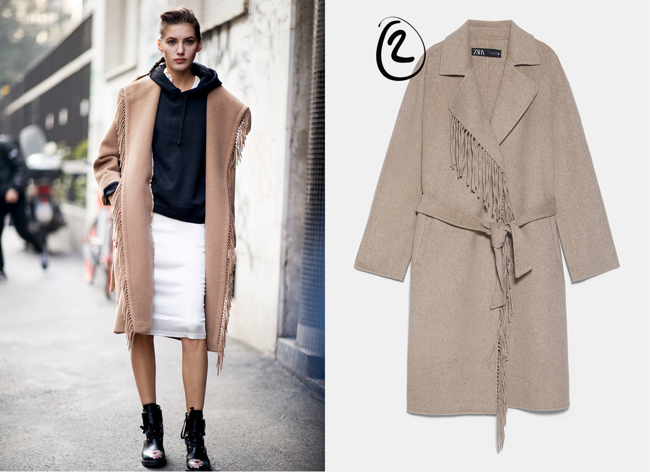 een model in een bruine trench coat