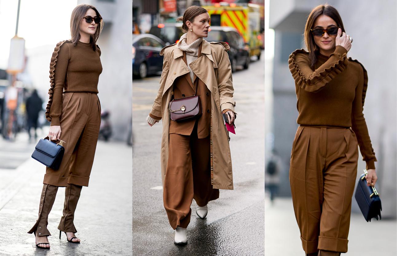 beelden van meiden die bruine tinten kleding dragen
