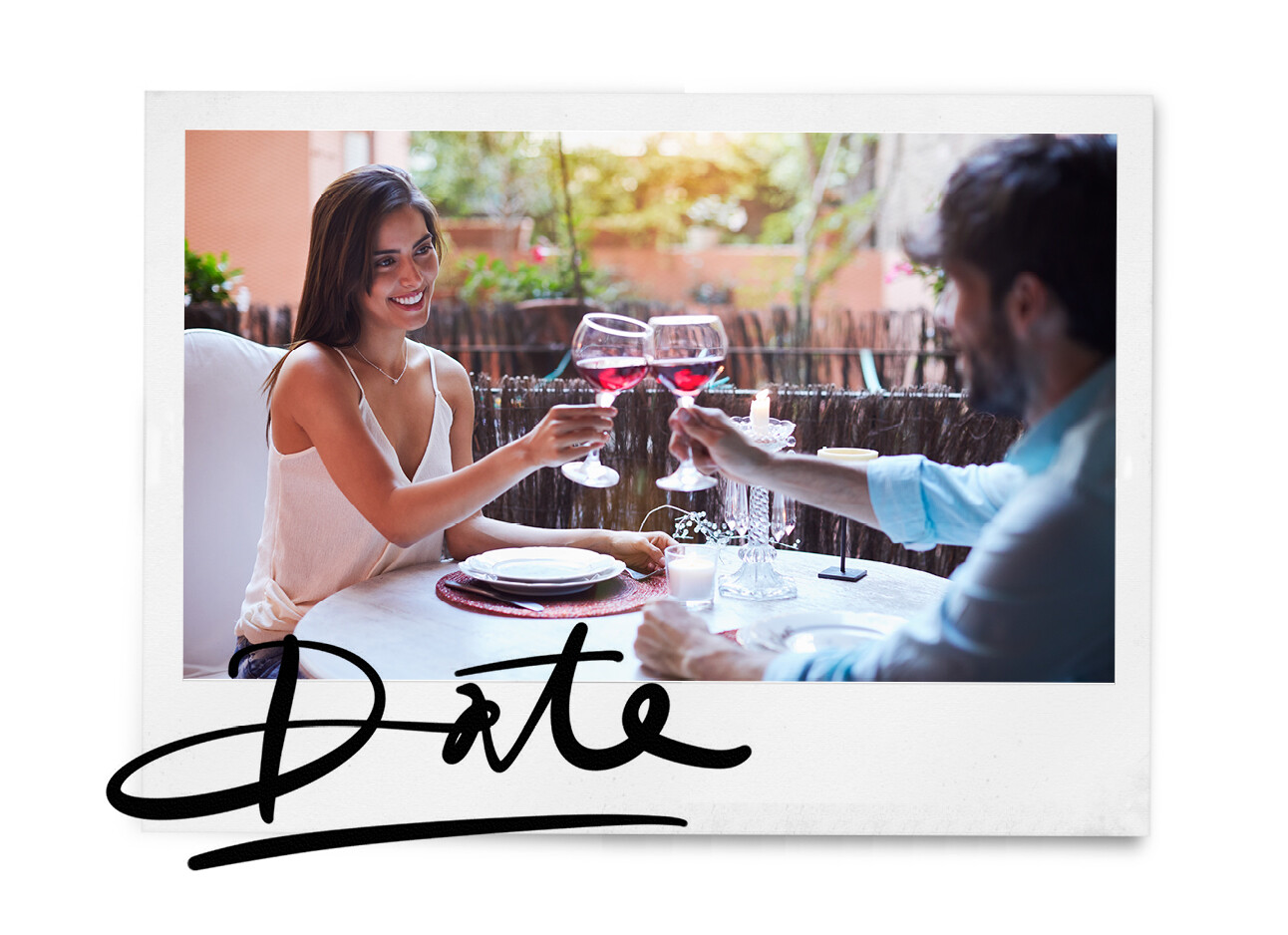 Man en vrouw daten met een glas wijn