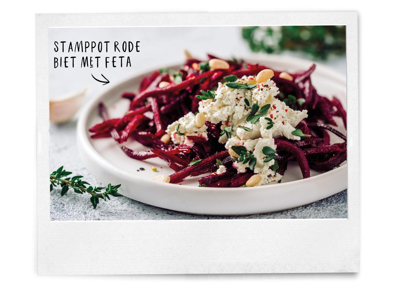 bieten stampot met feta en pijnboompitjes
