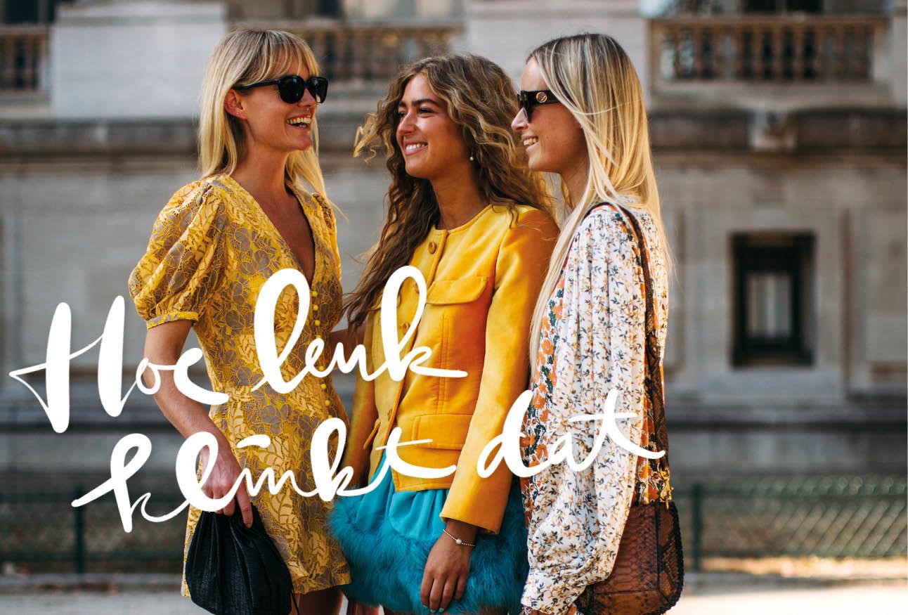 vrouwen naast elkaar geel shirt