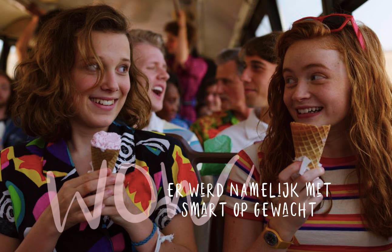 stranger things seizoen drie record netflix, kinderen in de schoolbus, ijsjes eten