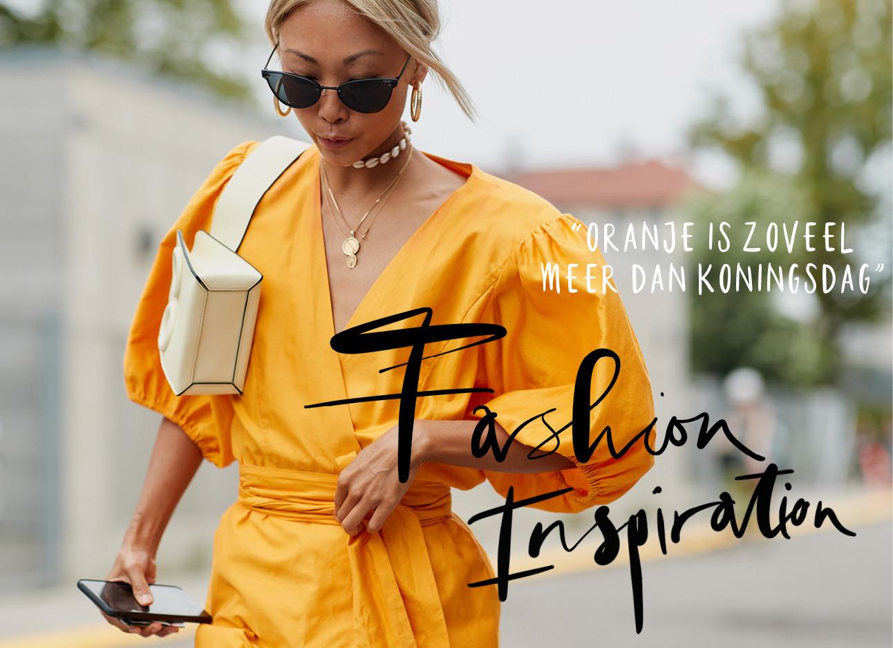 hoofdbeeld oranje boven, fashionweek streetstyle oranje jurk, zonnebril