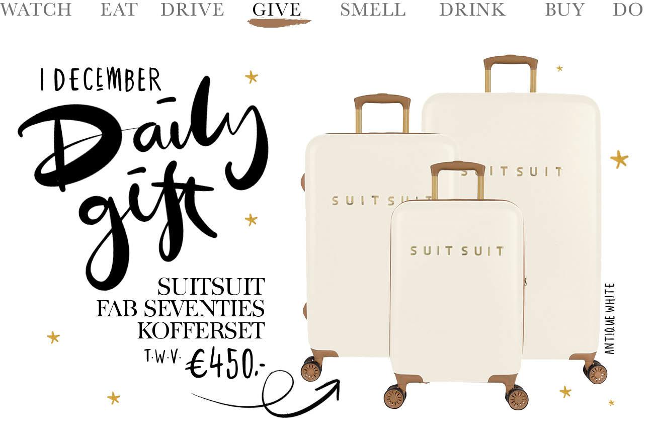 beelden van de roze koffer zet van suitsuit