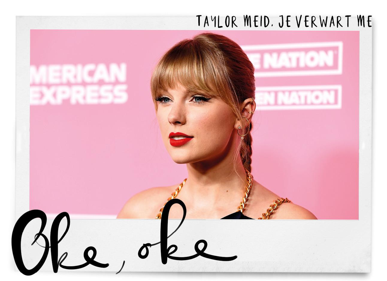 beeld van taylor swift met een roze achtergrond
