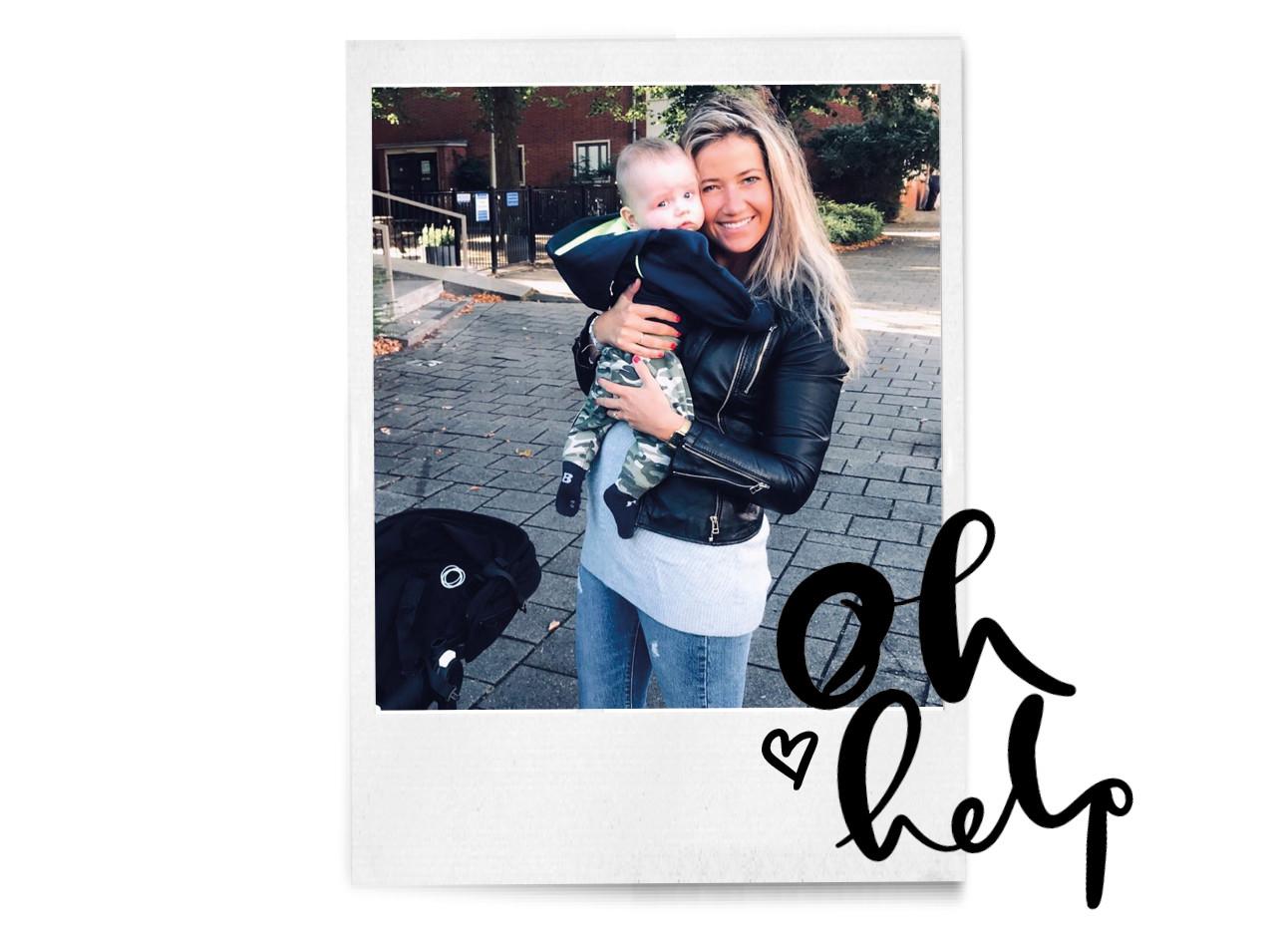 Tessa met haar kind in haar armen