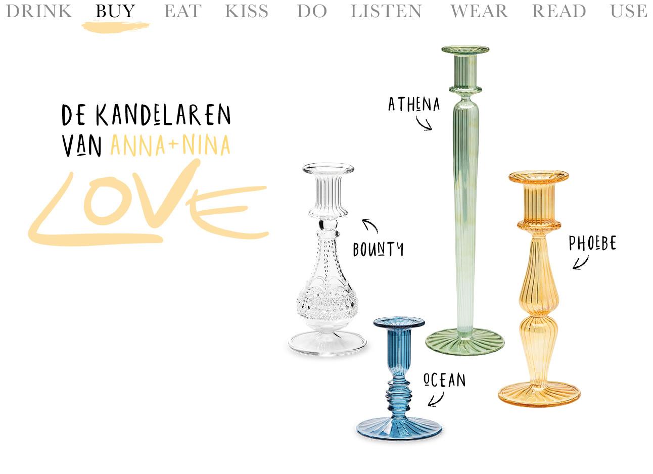 4 glazen candelaren van het merk anna+nina