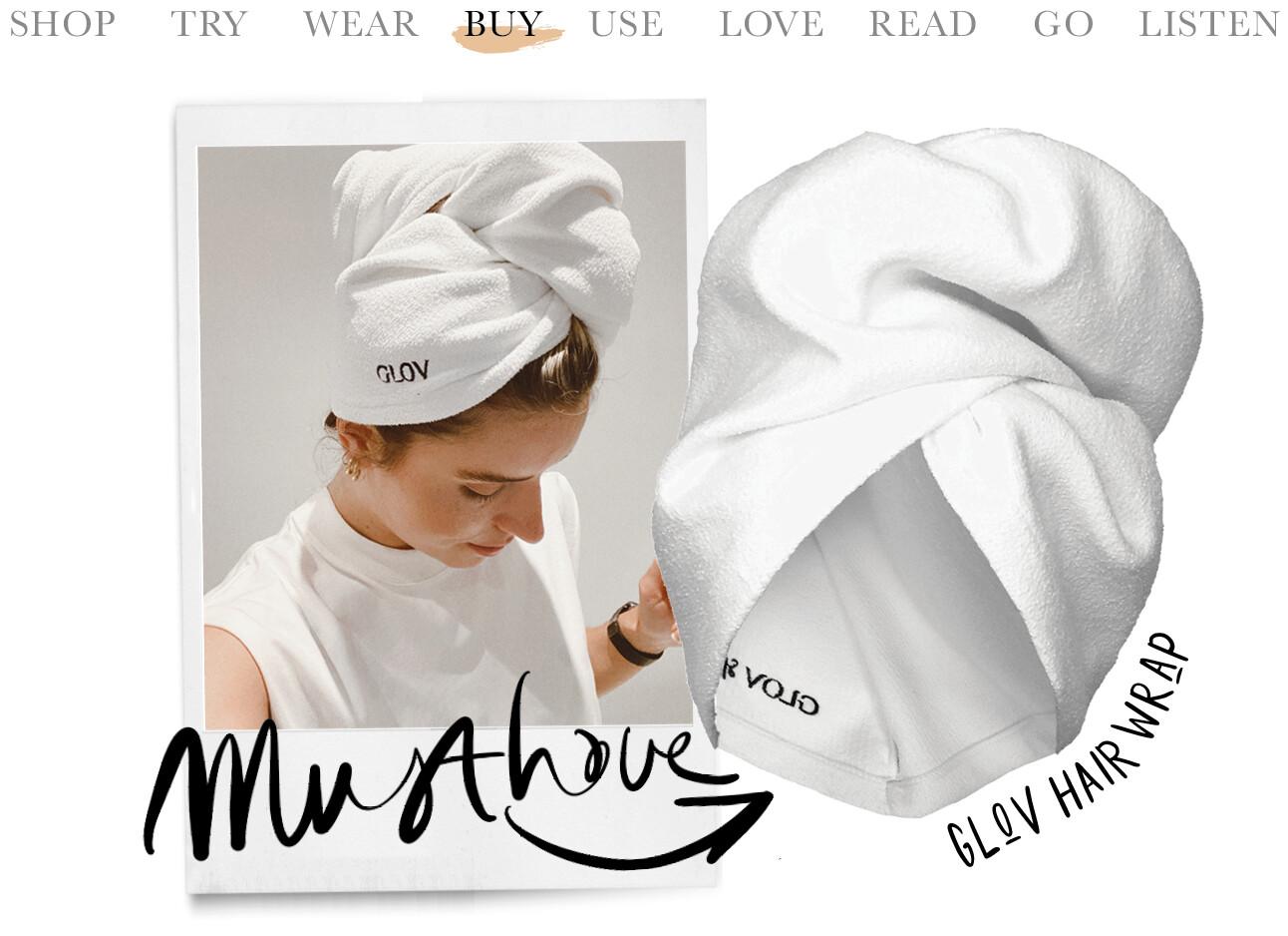 Lotte van scherpenzeel met en GLOV Hair Wrap Handdoek