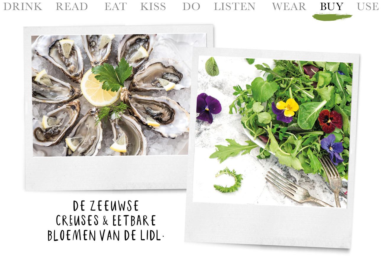 Een schaal met Oesters en een salade met eetbare bloemen