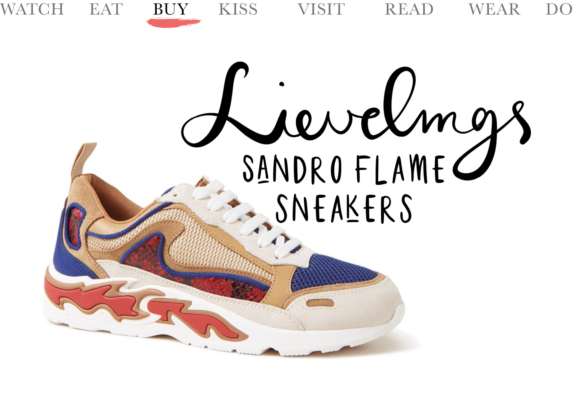 today we buy sandro flame sneakers met suede details in de kleuren creme, beige, blauw en rood. tekst lievelings