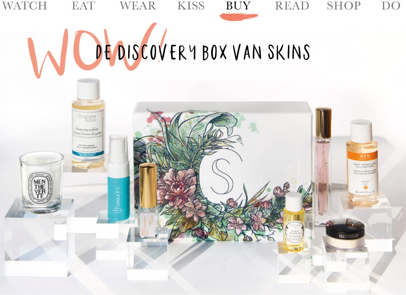 de discovery box van skins met allerlei beauty en verzorgingsproducten