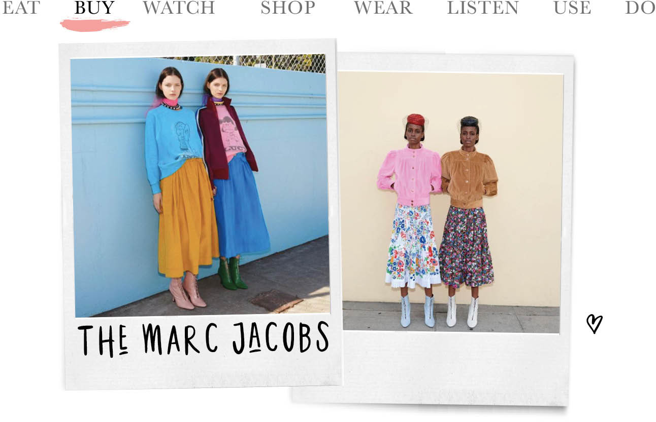 today we buy de nieuwe collectie van marc jacobs, tweeling modellen