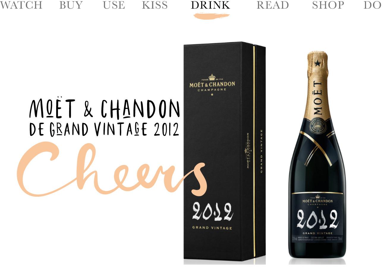 moet et chandon de grand vintage 2012 champagne, donkere fles met doos, cheers