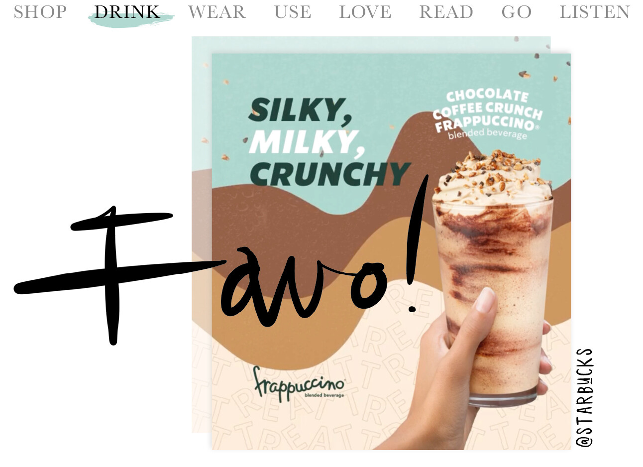 today we drink the new Starbucks taste
