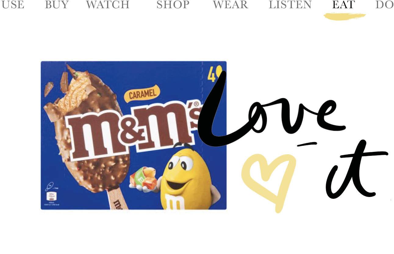 today we eat M&M caramel ijsjes blauwe verpakking met gele M&M erop