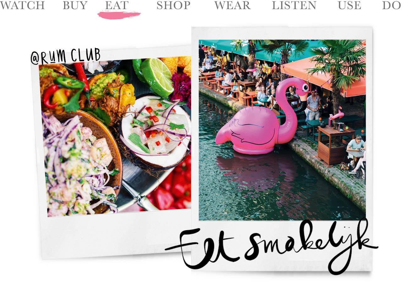 Op de afbeelding staan 2 polaroids met op de ene een schaal met kleurrijk eten, en op de andere een gracht met een grote opblaas flamingo in het roze