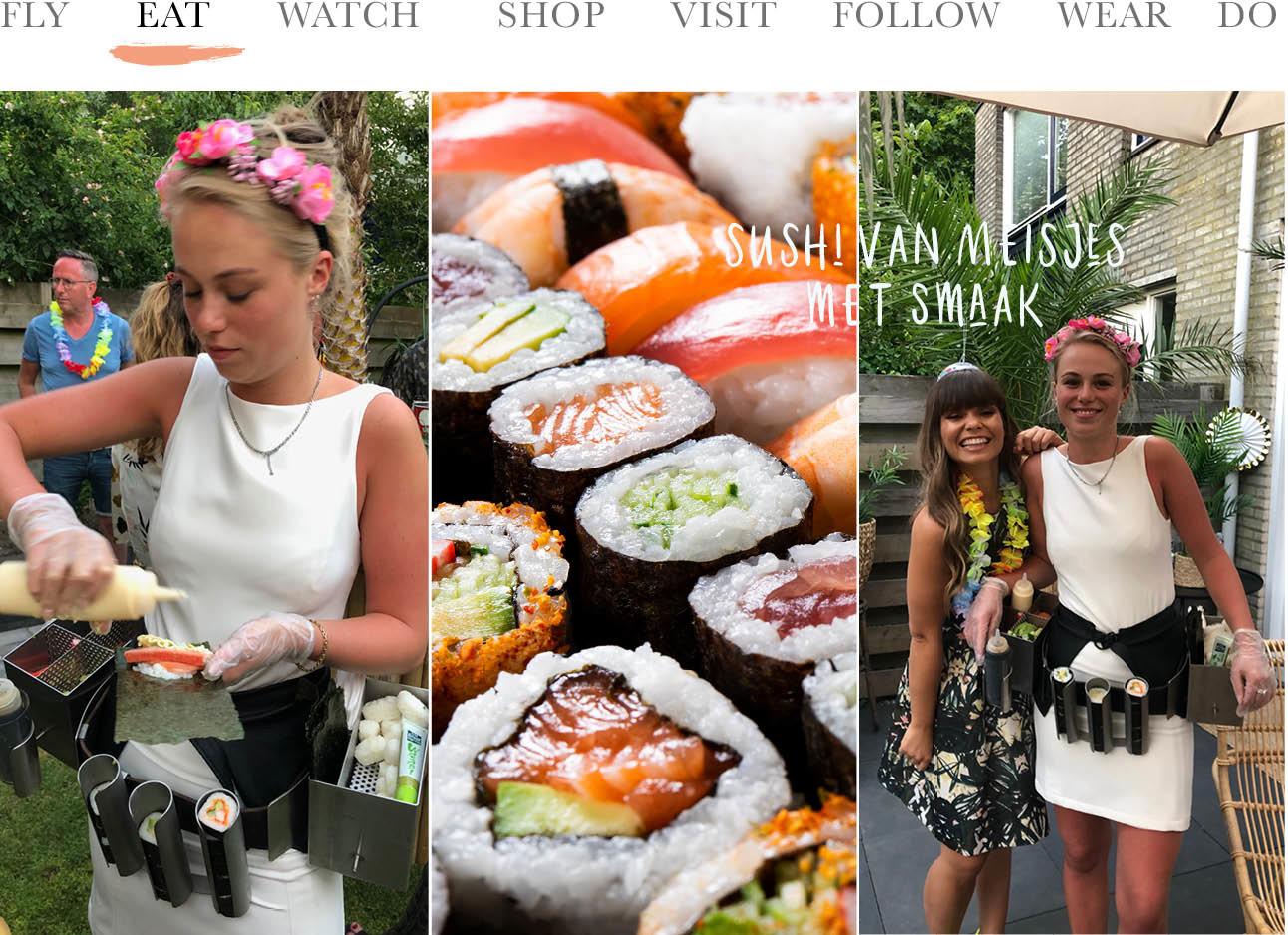 meisjes met smaak, sushi, kiki tiki party