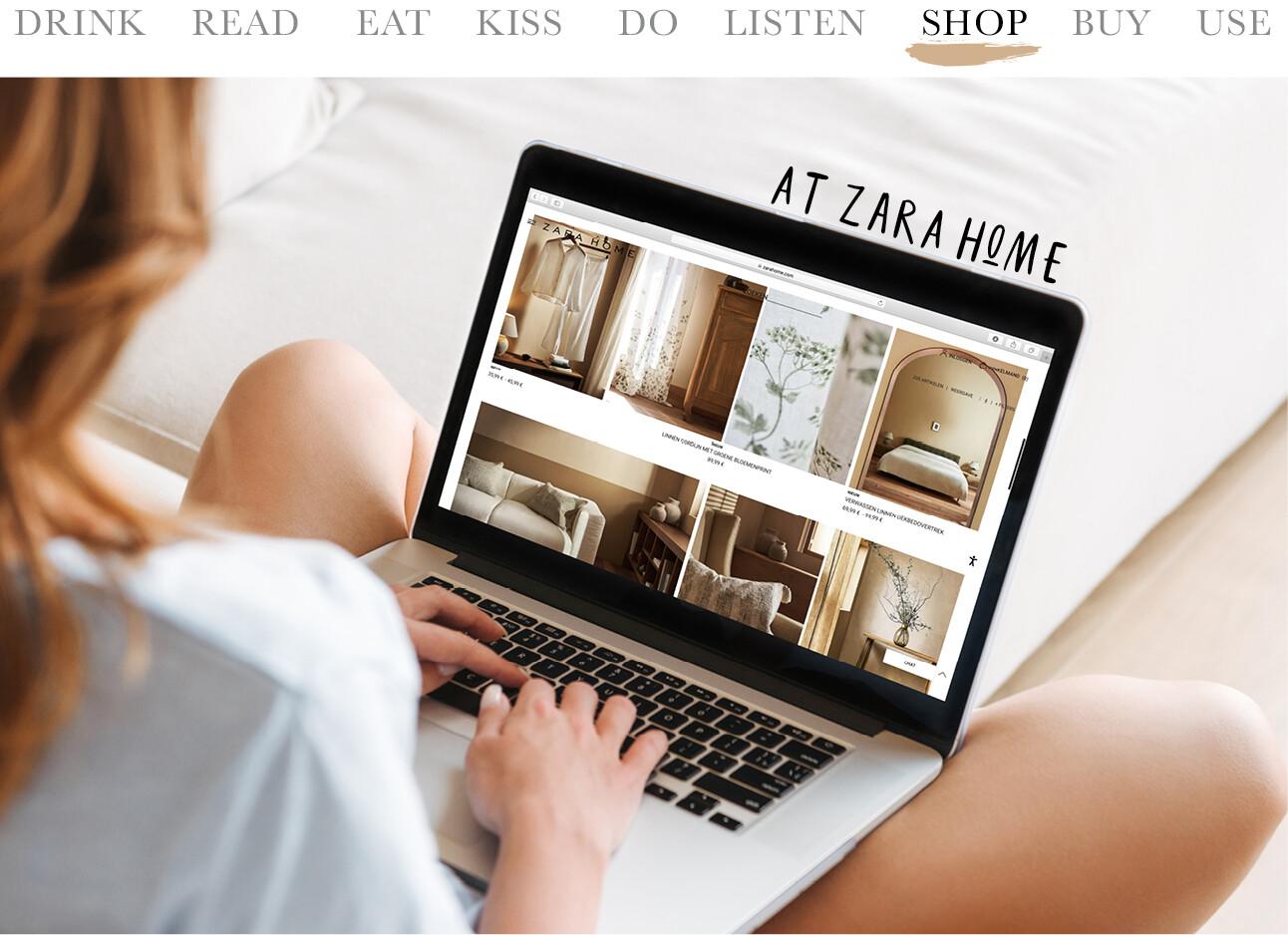 vrouw op laptop online shoppen bij zara home