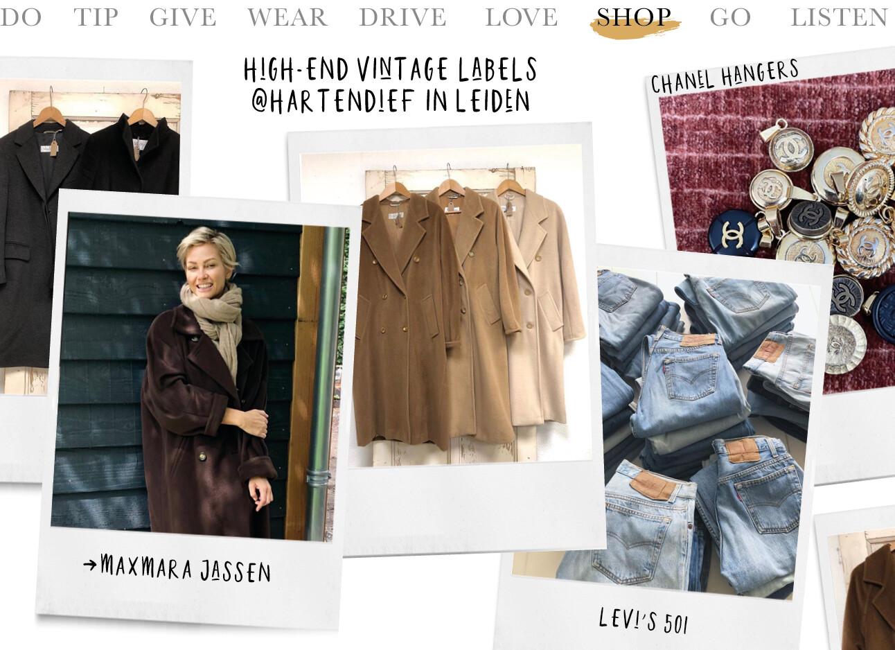 Hartendief vintage MaxMara jassen Levi's Jeans chanel hangers