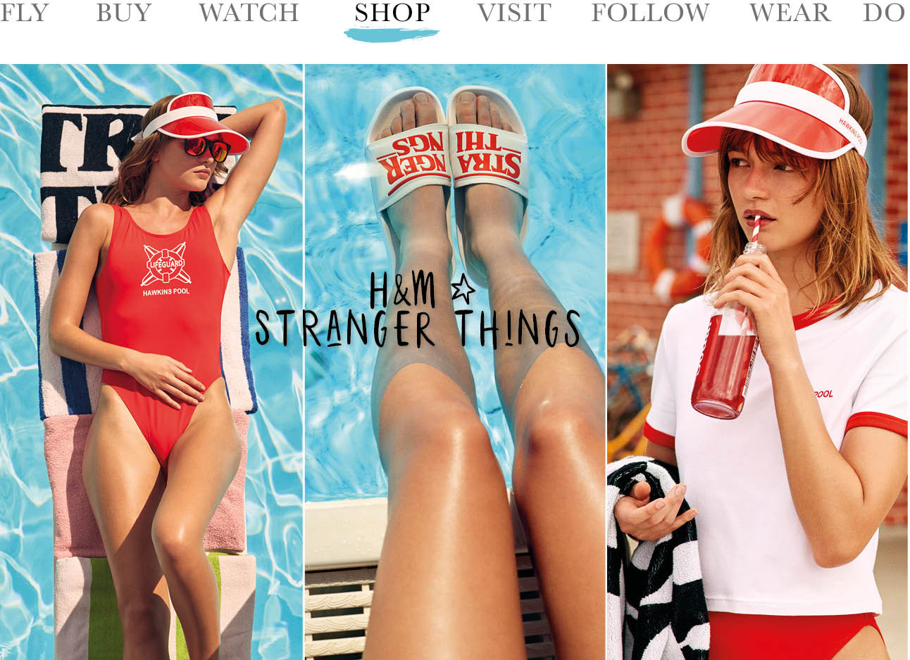 H&M en stranger things today we shop bikini babe rode badpak en hoed