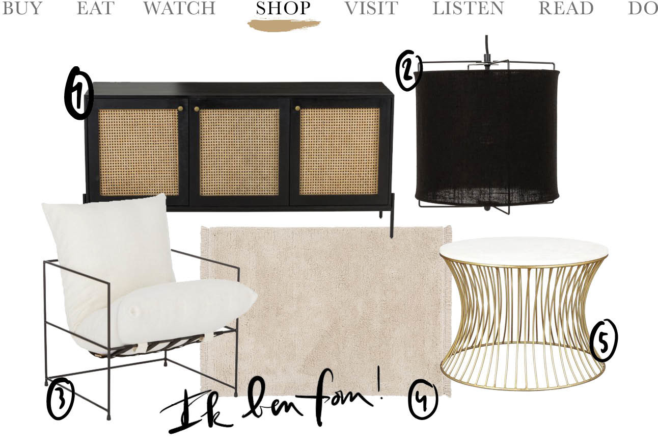 WestWing shopping today We Shop artikelen interieur witte stoel kast wollige licht beige kleed zwarte lamp