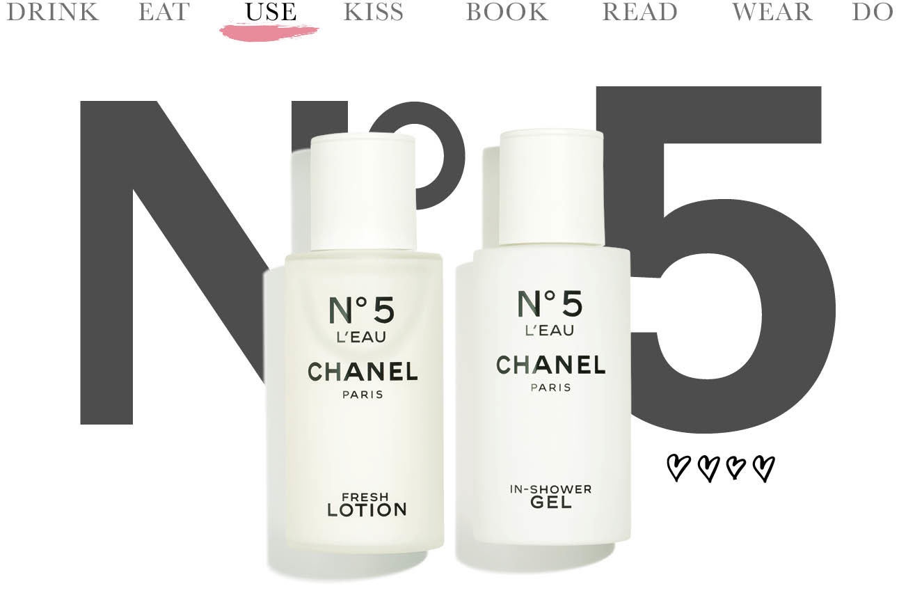 today we use chanel nummer 5 creme en douche gel