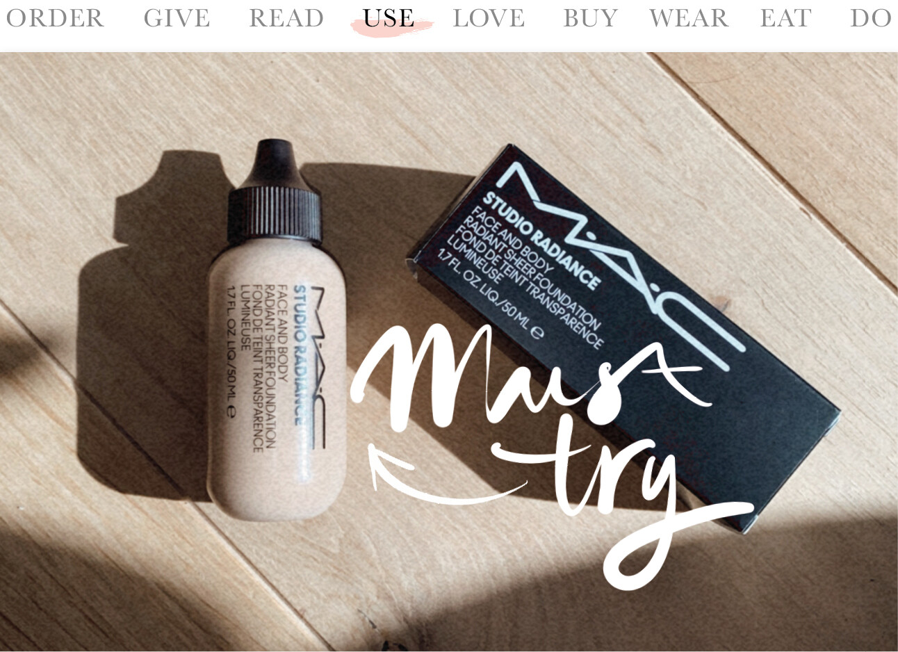MAC cosmetics studio radiance face and body foundation