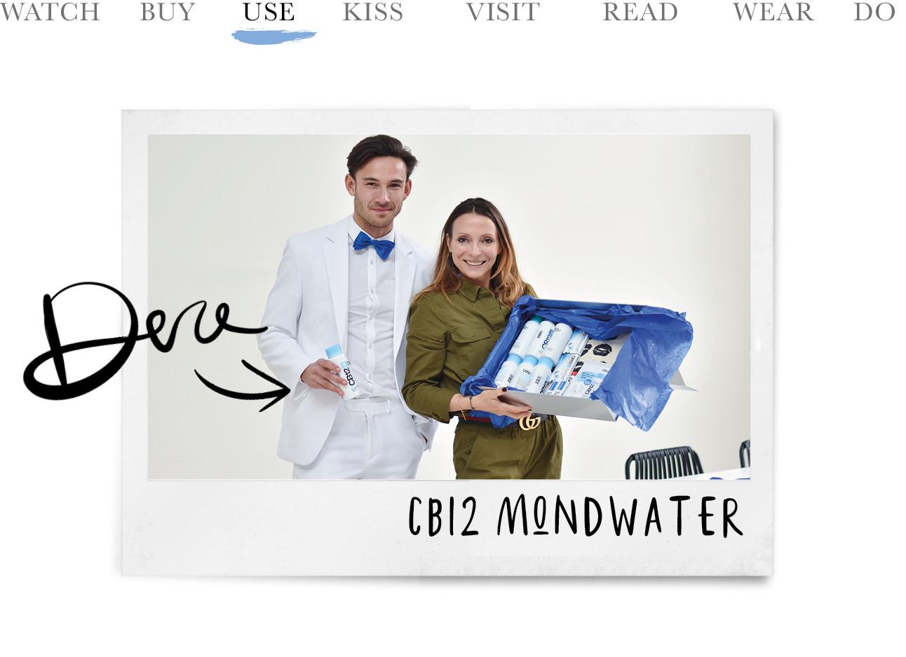 may-britt mobach met een doos cb12 mondwaters op de foto met breath pitt in een wit pak met blauwe strik. today we use