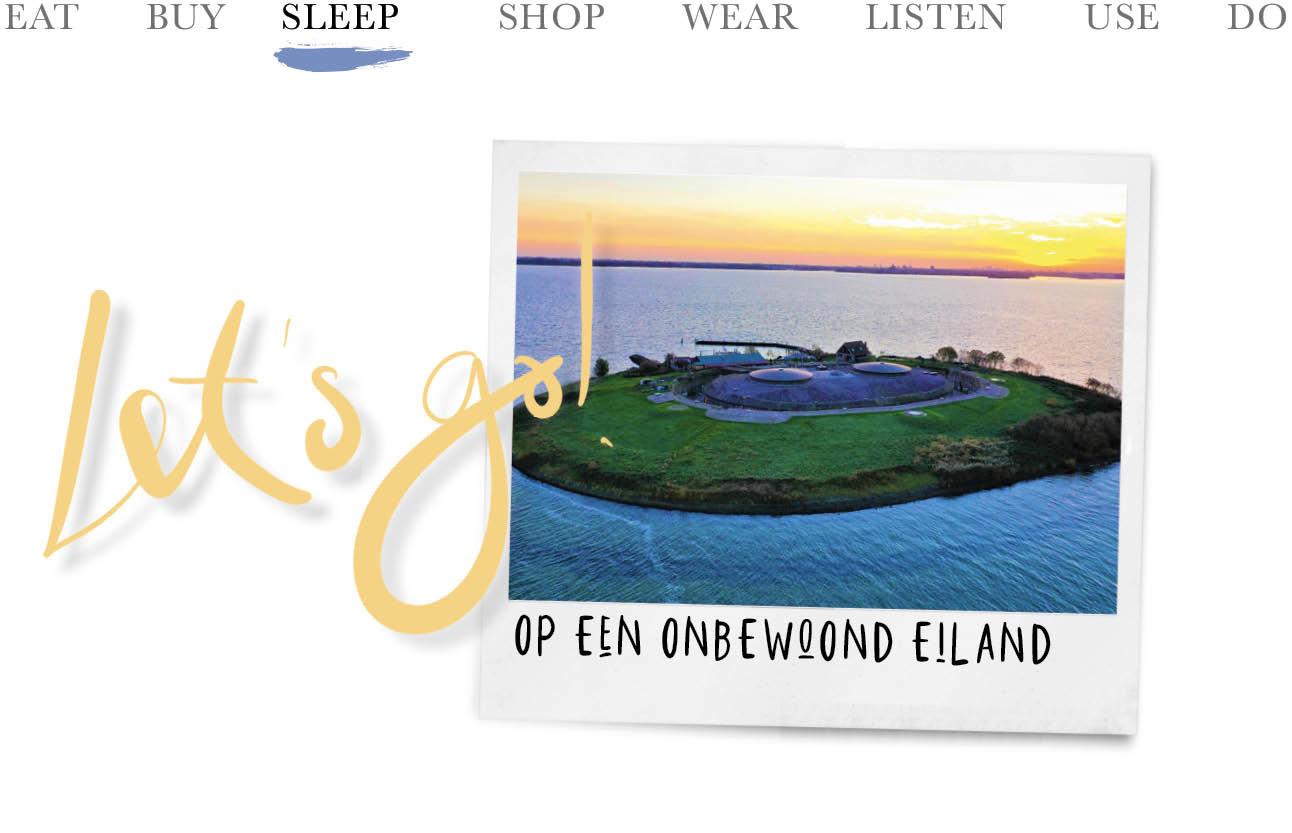 today we sleep op een onbewoond eiland