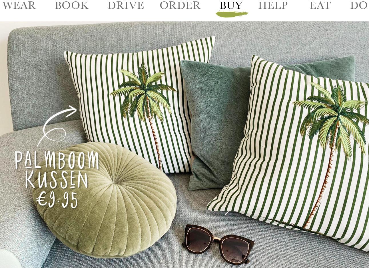 karwei kussens palmboom streepjes groen