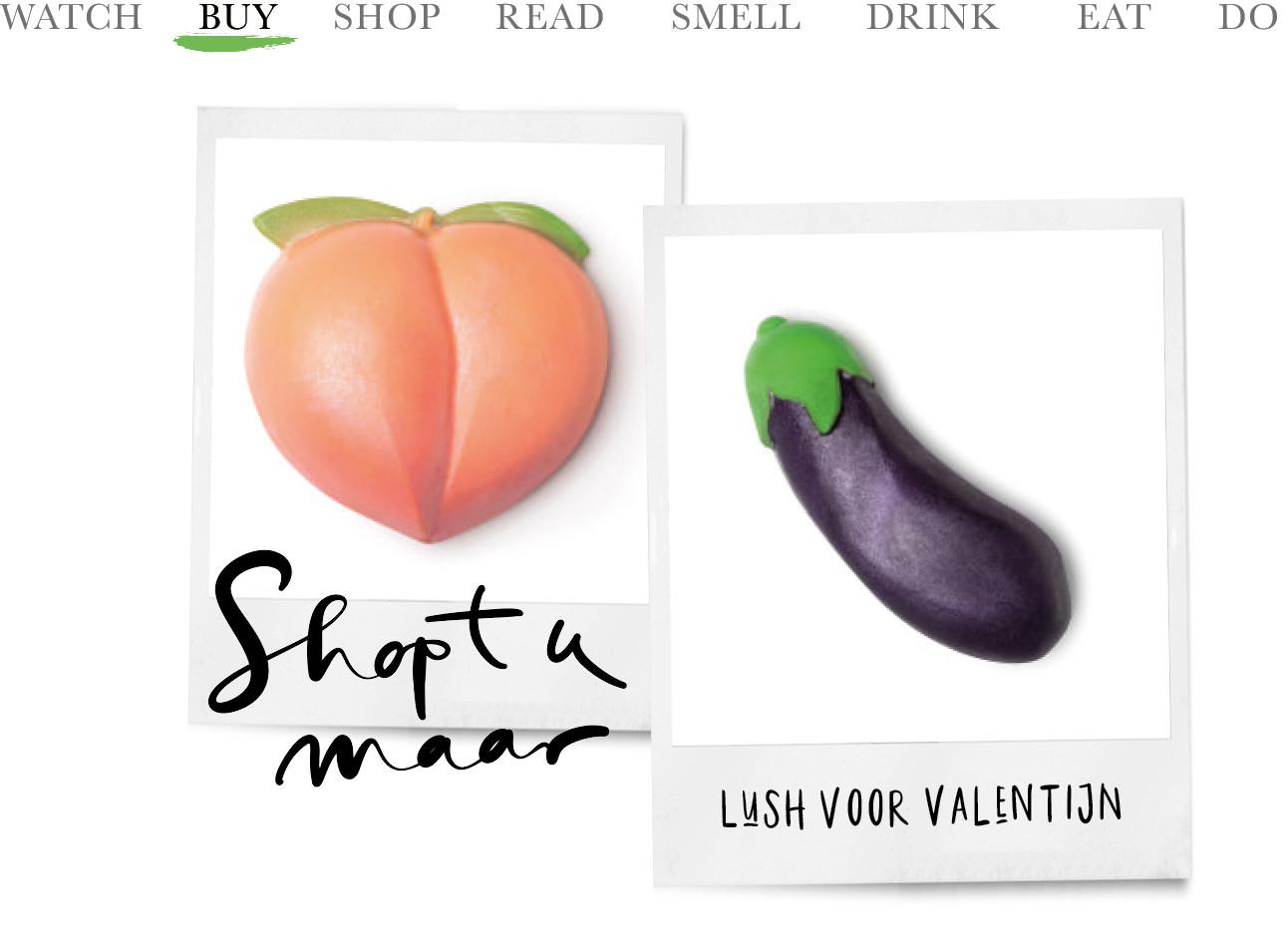 de 2 zeepjes van lush in de vorm van een perzik en een aubergine