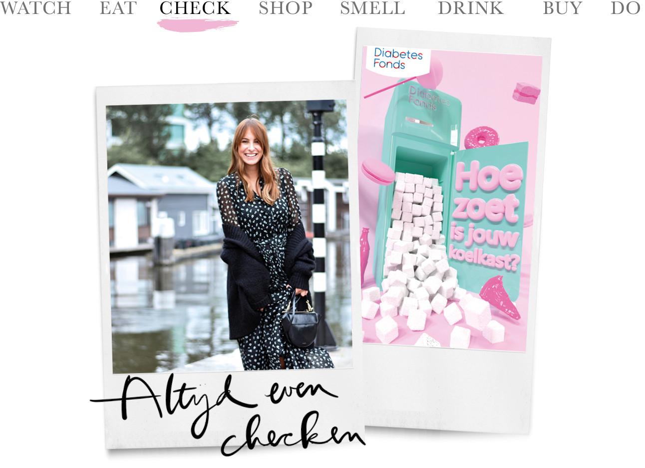 beeld van een lachende lilian en naast haar een foto van het diabetes fonds