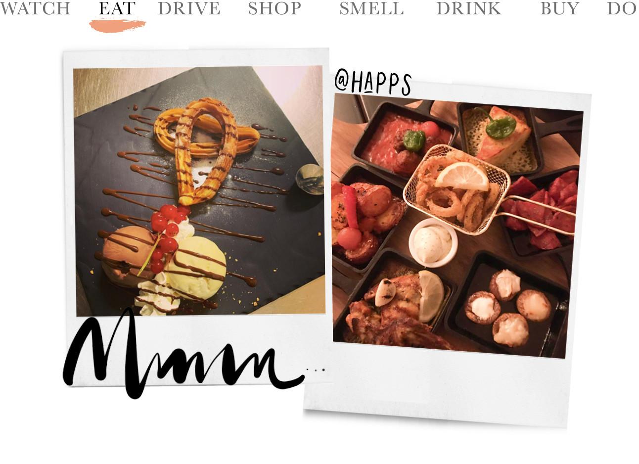 foto's van happs eten bij een barretje