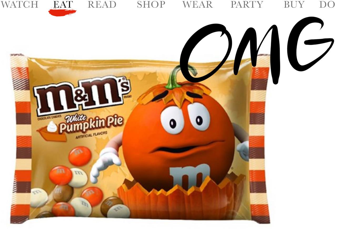 De nieuwe herfst M&M's , de verpakking is rood emt oranje en er staat een rode m&m op die uit een pompoen komt