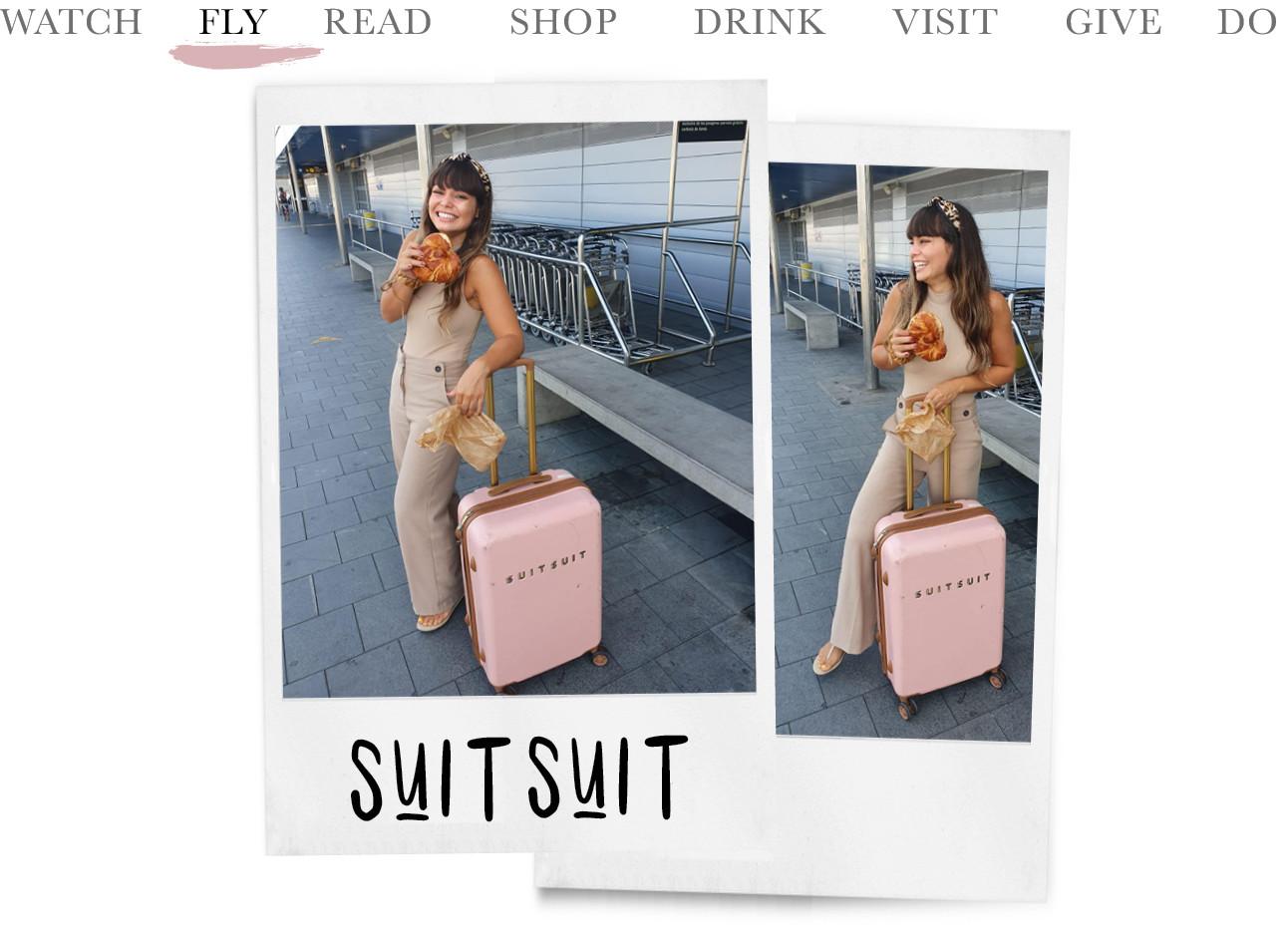 2 foto's van kiki op een vliegveld met een broodje en ene koffer