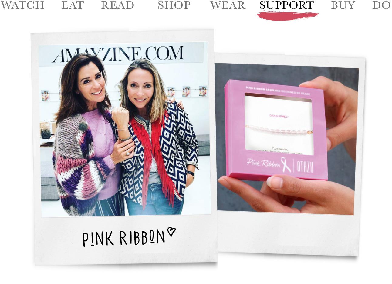 May die het nieuwe Pink Ribbon armbandje krijgt en een close up van het nieuwe bandje in een roze doosje