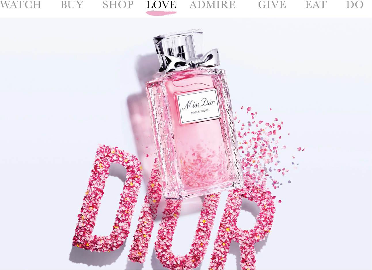 Parfumfles miss dior met bloemblaadjes