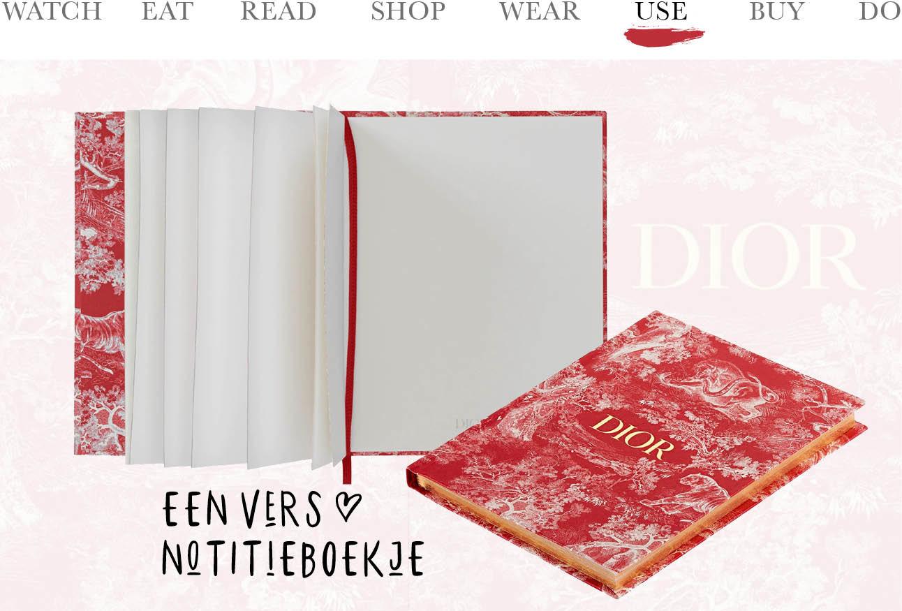 today we use notitie boekje van Dior rood