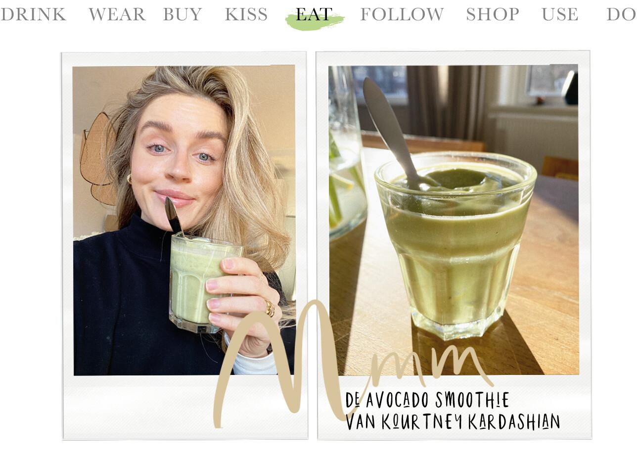 Lotte van scherpenzeel met een groene avocado smoothie