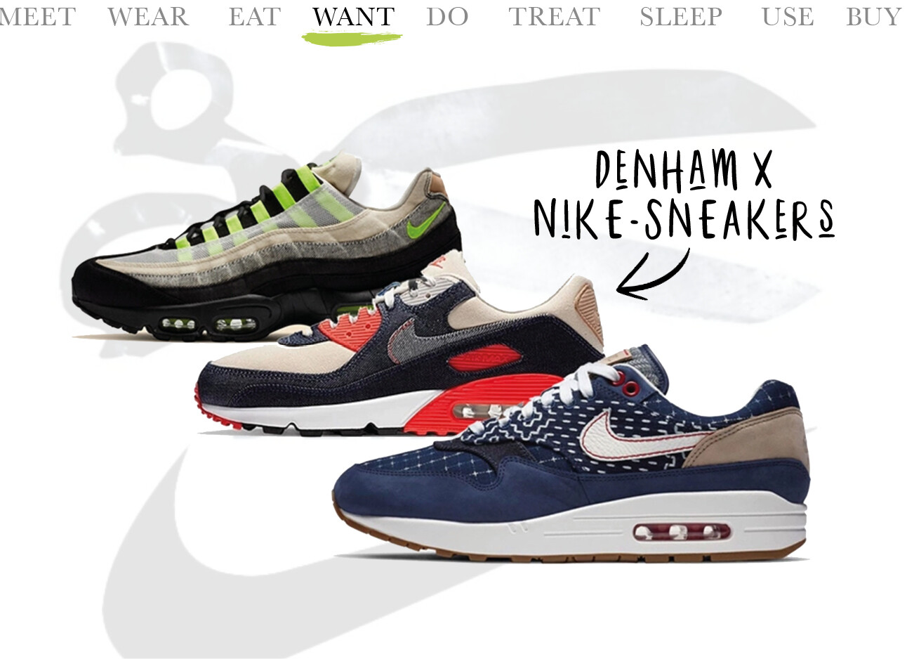ToDay we WANT Denham x Nike-sneakers